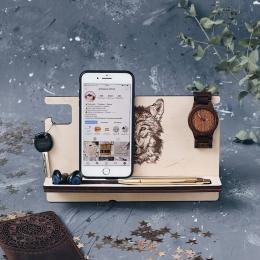 Мужской органайзер из дерева дизайн Волк без покраски