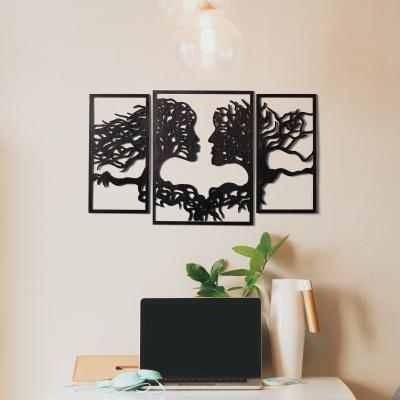 Декор на стену. Набор панно на стену DomLazerа Пара из дерева 2161 24*39.5см, цвет черный (В наличии)