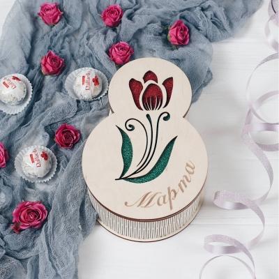 Подарочная коробка на 8 марта тюльпан. Деревянная коробка для упаковки