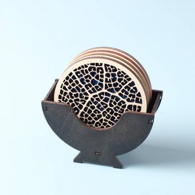Деревянные круглые костеры с подставкой.Набор костеров под напитки и горячее v7 цвет венге