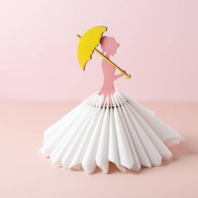 Салфетница из дерева девушка с зонтиком цветной дизайн