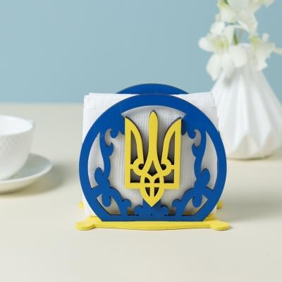 Салфетница из дерева дизайн Герб Украины