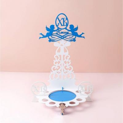 """Подставка для кулича и яиц на Пасху дизайн """"Ангелочки ХВ"""" белый с голубыми ангелами"""