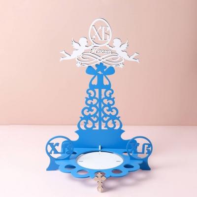 """Подставка для кулича и яиц на Пасху дизайн """"Ангелочки ХВ"""" голубой с белыми ангелами"""