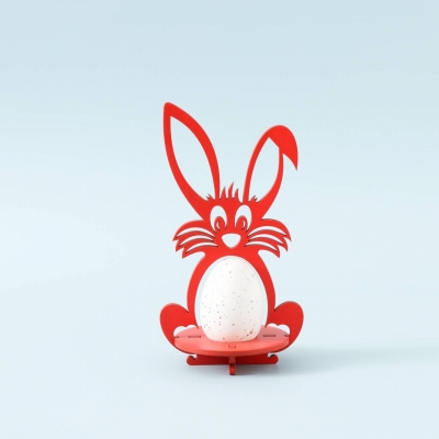 Пасхальная подставка под яйца DomLazera Зайчик 6054_1  17*9см цвет красный (В наличии)
