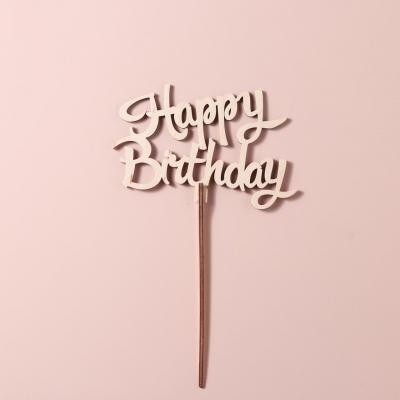 "Деревянный топпер для букетов и цветов. ""Happy Birthday v3"""