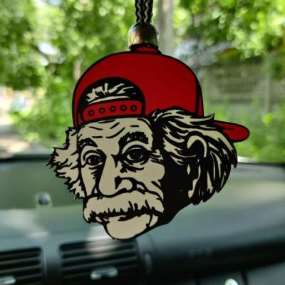 """Ароматизатор в машину из дерева, дизайн """"Альберт Эйнштейн в кепке"""""""