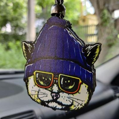 """Ароматизатор в машину из дерева, дизайн """"Кот в шапке"""""""