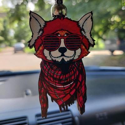 """Ароматизатор в машину из дерева, дизайн """"Лиса с шарфом"""""""