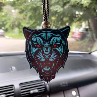 """Ароматизатор в машину из дерева, дизайн """"Пантера с красными глазами"""""""