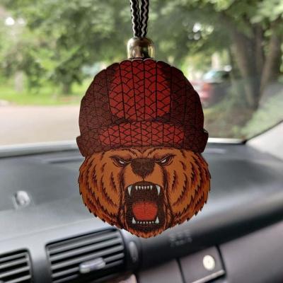 """Ароматизатор в машину из дерева, дизайн """"Медведь в шапке"""""""