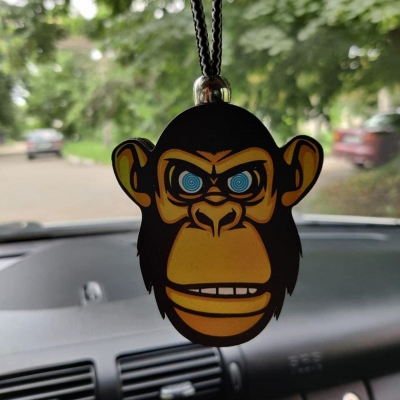 """Ароматизатор в машину из дерева, дизайн """"Обезьяна"""""""