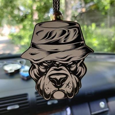 """Ароматизатор в машину из дерева, дизайн """"Питбуль в панаме"""""""