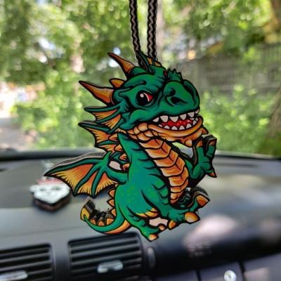 """Ароматизатор в машину из дерева, дизайн """"Зеленый дракон"""""""