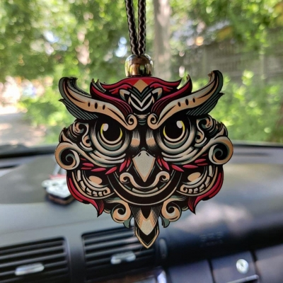 """Ароматизатор в машину из дерева, дизайн """"Голова Совы"""""""