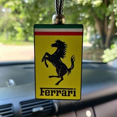 """Ароматизатор в машину из дерева, дизайн """"Логотип Ferrari"""""""