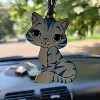 """Ароматизатор в машину из дерева, дизайн """"Кошка"""""""