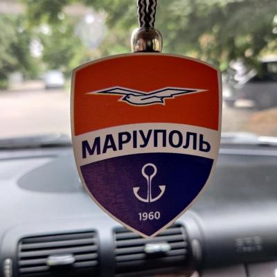 """Ароматизатор в машину из дерева, дизайн """"ФК Мариуполь"""""""