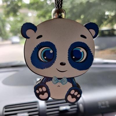 """Ароматизатор в машину из дерева, дизайн """"Панда с голубым бантом"""""""