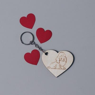 Брелок сердце для ключей из дерева валентинка собачка с сердцем