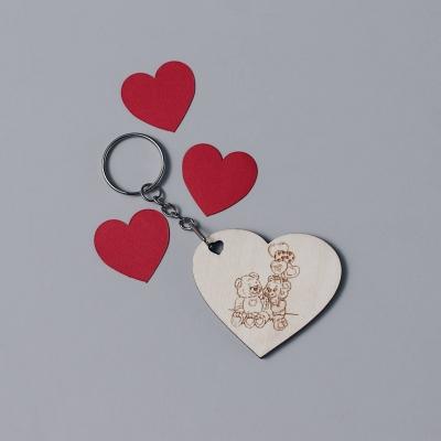 Брелок сердце для ключей из дерева валентинка v5