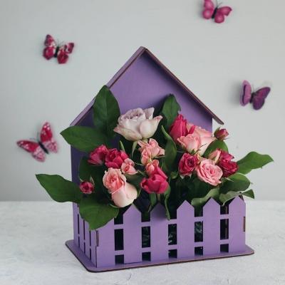 Кашпо для цветов домик с забором, корзинка для цветов