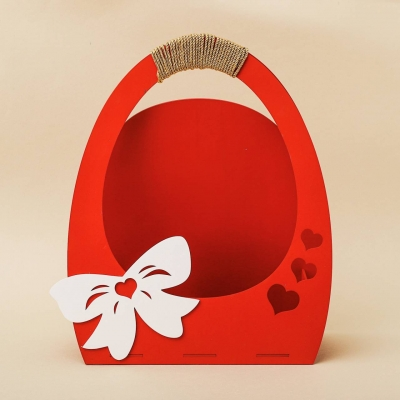 """Кашпо для цветов, кашпо из фанеры, корзинка для цветов дизайн """"Бант с сердцами"""""""