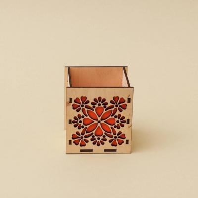 """Кашпо для цветов, кашпо из фанеры, корзинка для цветов дизайн """"Корзинка абстракция цветы"""""""