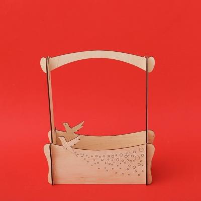 """Кашпо для цветов, кашпо из фанеры, корзинка для цветов дизайн """"Корзинка с птичкой"""""""