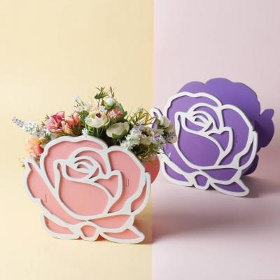 """Кашпо для цветов, кашпо из фанеры, корзинка для цветов дизайн """"Роза"""""""