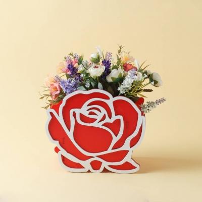 Корзинка для цветов из дерева DomLazera Роза 7019 23*11*20см красный (В наличии)