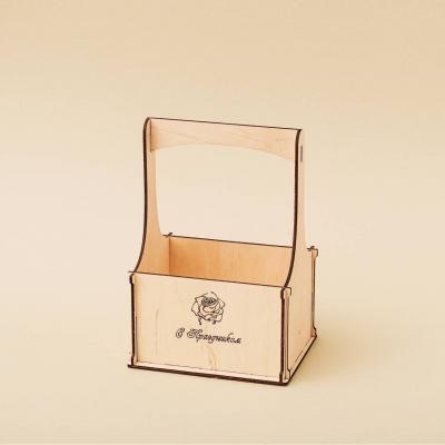 """Кашпо для цветов, кашпо из фанеры, корзинка для цветов дизайн """"Корзинка роза с поздравлением"""""""