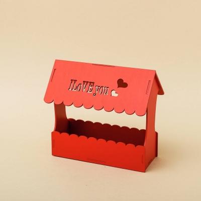 """Кашпо для цветов, кашпо из фанеры, корзинка для цветов дизайн """"Корзинка с крышей"""""""