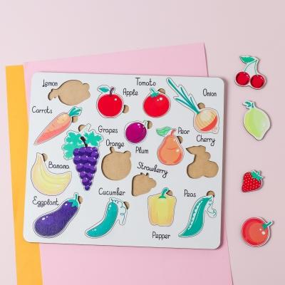 """Сортер-головоломка для детей """"Фрукты и овощи на английском"""" 16 деталей UF"""