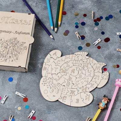 Алфавит из фанеры для деток в коробке дизайн Черепашка