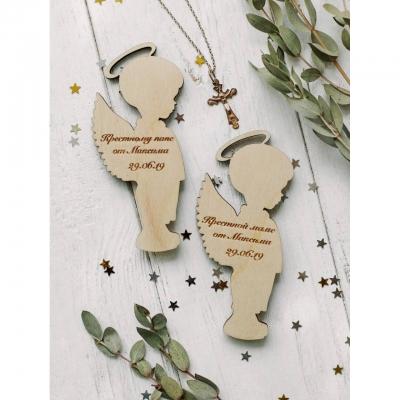 Магнит ангелочки подарок крестным из дерева