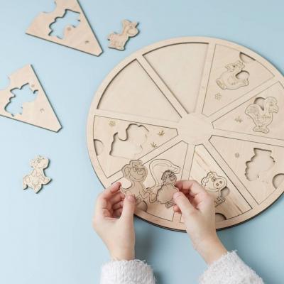 """Сортер круглый из дерева для детей """"Животные"""""""