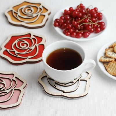 Подставка под чай дизайн роза. Подставка под чашку. Подставка под кофе