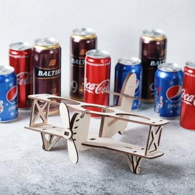 Самолет из фанеры для напитков в ж/б банках
