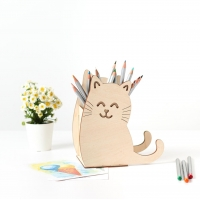 """Карандашница из дерева с подставкой для телефона """"Котик"""""""