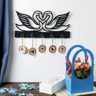 """Ключница настенная для ключей """"Два лебедя"""" цвет черный макси 5 кр (В наличии)"""