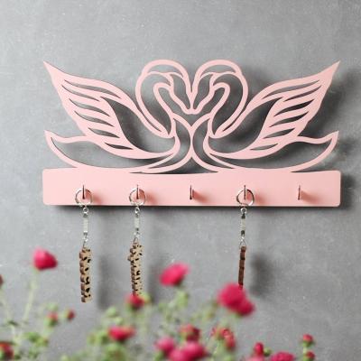 """Ключница настенная для ключей """"Два лебедя"""" цвет розовый макси 5 кр (В наличии)"""