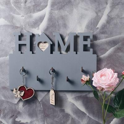 Ключница настенная HOME из дерева цвет серый