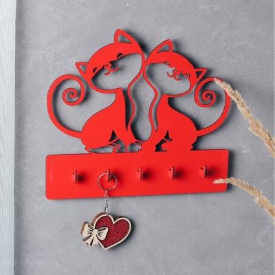 """Ключница настенная для ключей из дерева для дома """"Два котика"""" цвет красный"""