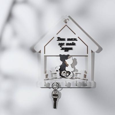 """Ключница настенная для ключей из дерева для дома """"Коты на заборе"""" цвет белый"""
