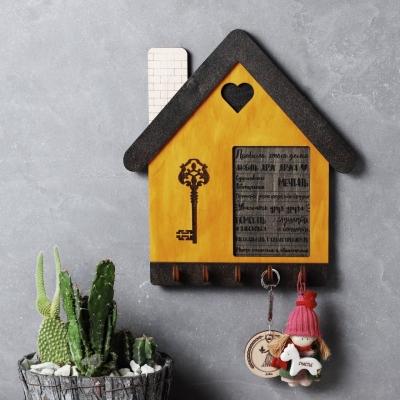 """Ключница настенная из дерева домик """"Правила дома"""" цвет Венге и медовый v2"""