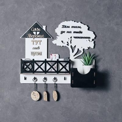 Ключница настенная с балконом из дерева цвет белый с черным