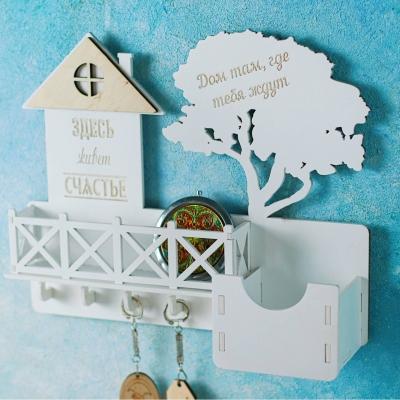 Ключница настенная с балконом из дерева цвет белый