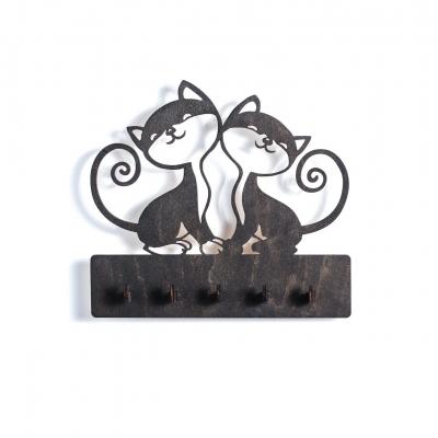 """Ключница настенная для ключей из дерева для дома """"Два котика"""" цвет венге"""
