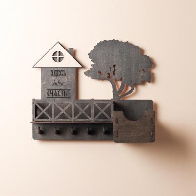 Ключница настенная DomLazera с балконом без текста на дереве 2017_1 30x25x9см русский язык Венге (В наличии)